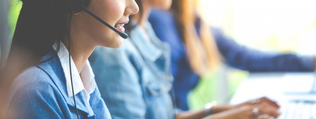 attractive business woman asian suits headsets are smiling while working with computer office customer service assistant working office 38052 176