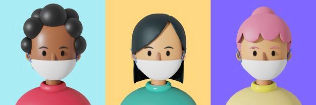 3 cartoon character avatar cute woman wearing mask 77116 615